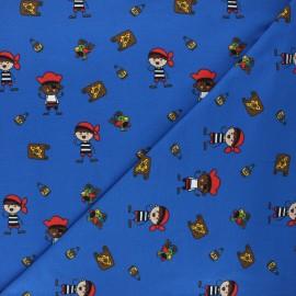 Printed jersey fabric - royal blue Pirate kid x 10cm