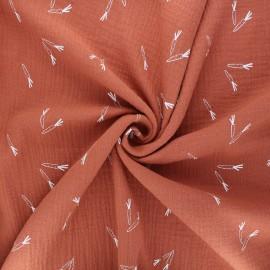 Tissu double gaze de coton Carrots - abricot x 10cm