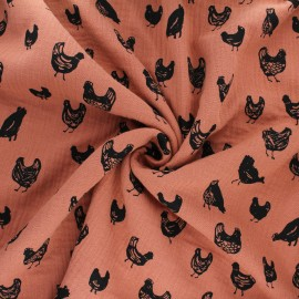 Double gauze cotton fabric - orange Great chicken x 10cm