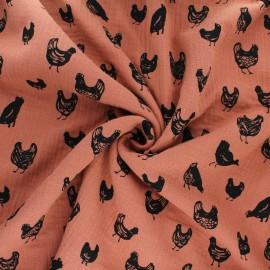 Tissu double gaze de coton Great chicken - orange x 10cm
