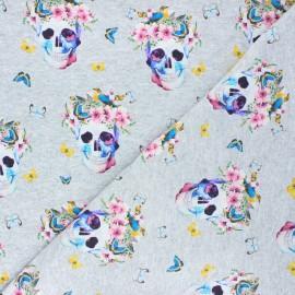 French terry fabric - mottled light grey Spring skull x 10cm