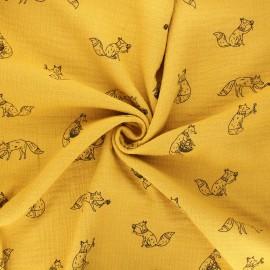 Double gauze cotton fabric - yellow mustard Foxes x 10cm