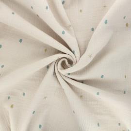 Tissu double gaze de coton Tooth fairy - grège x 10cm
