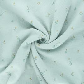 Double gauze cotton fabric - opaline Botanist x 10cm