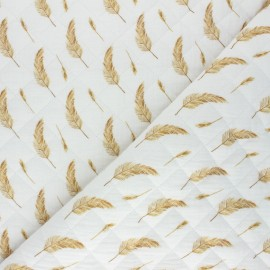 Quilted double gauze cotton fabric - raw Feathers x 10cm