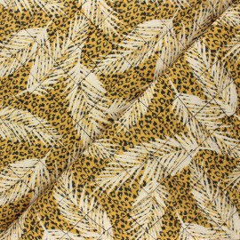 Quilted double gauze cotton fabric - mustard yellow Leopard feather x 10cm
