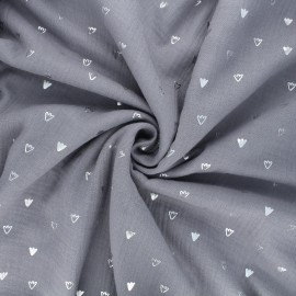 Double gauze cotton fabric - grey Duckling foot print x 10cm