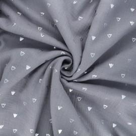 Tissu double gaze de coton Duckling foot print - gris x 10cm