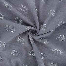 Double gauze cotton fabric - grey Firefighters x 10cm