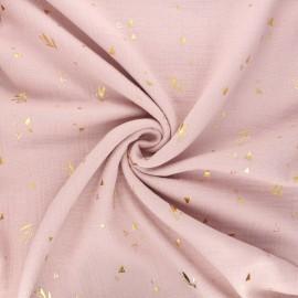 Tissu double gaze de coton Lamas flower - rose x 10cm