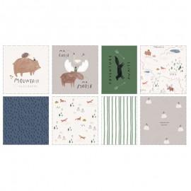 Pannel cotton fabric - Misty mountains x 81 cm