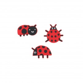 Embroidered iron-on patch Coccinelles (Pack of 3)
