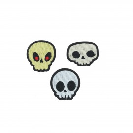 Embroidered iron-on patch Tête de mort (Pack of 3)