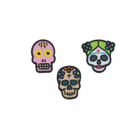 Embroidered iron-on patch Calavera (Pack of 3)
