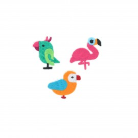 Embroidered iron-on patch Tropical birds (Pack of 3)