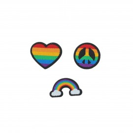 Embroidered iron-on patch Rainbow (Pack of 3)
