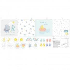 Panel jersey fabric - Sky rhinos baby x 65 cm