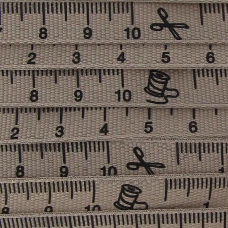 Grosgrain Ribbon, tape measure - Beige