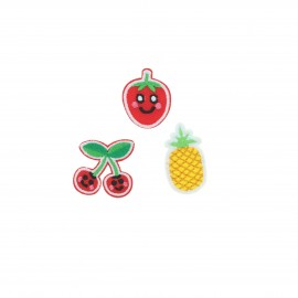 Embroidered iron-on patch Petits fruits (Pack of 3)