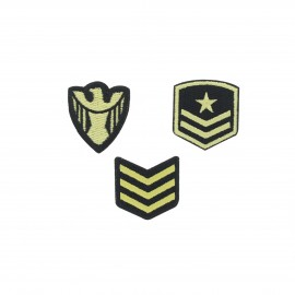 Embroidered iron-on patch Militaire (Pack of 3)