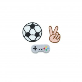 Embroidered iron-on patch Football (Pack of 3)