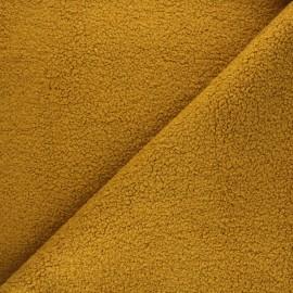 Tissu lainage bouclette Petite Ourse - jaune moutarde x 10cm