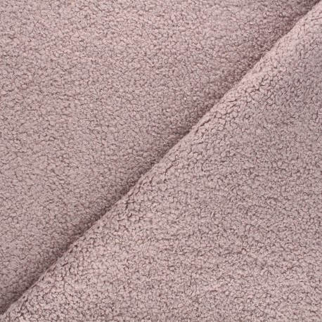 Curly Sheep Fur fabric - old pink Petite Ourse x 10cm