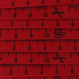 Grosgrain Ribbon, tape measure - Red