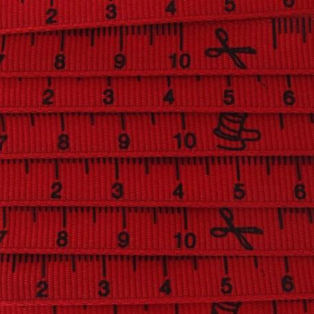 Grosgrain Ribbon, tape measure - Red