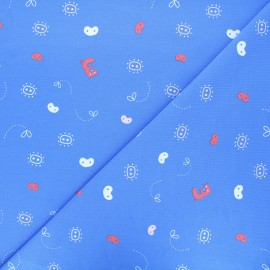 Jersey fabric - blue Three pigs abstract x 10cm