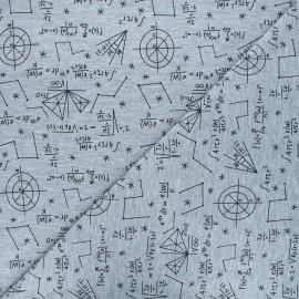 Tissu jersey Astronauts formulas - gris chiné x 10 cm