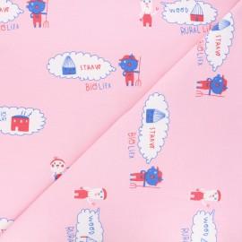 Tissu sweat Three pigs - rose x 10 cm