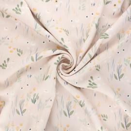 Tissu twill viscose Detective flowers - rose x 10cm