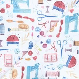 Tissu toile de coton Sewers - blanc x 10 cm