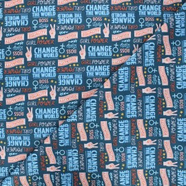 Tissu coton Camelot Fabrics Girls unite - bleu pétrole x 10cm