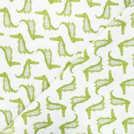Cotton Camelot Fabrics - white Proud crocodiles x 10cm