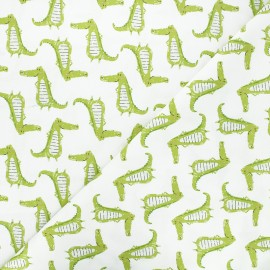 Tissu coton Camelot Fabrics Proud crocodiles - blanc x 10cm