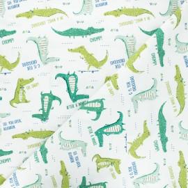 Cotton Camelot Fabrics - white Crocodile phrases x 10cm