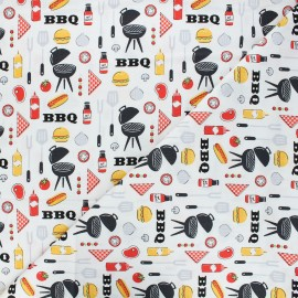 Cotton Camelot Fabrics - white King of the grill x 10cm