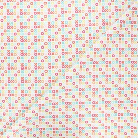 Tissu coton Camelot Fabrics Bright Xoxo - blanc x 10cm