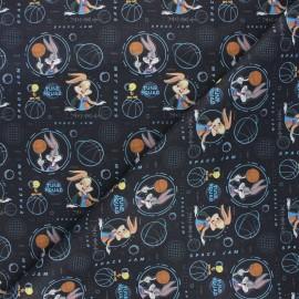 Cretonne cotton fabric - black Space Jam x 10cm