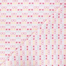 Tissu coton Camelot Fabrics Bright sunglasses - rose x 10cm