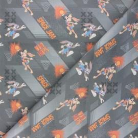 Cretonne cotton fabric - grey Mad hops x 10cm