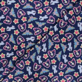 Tissu coton Camelot Fabrics Wonder woman Tossed stickers - bleu marine x 10cm