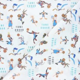 Tissu coton cretonne Tune team - blanc x 10cm