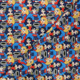 Cotton Camelot Fabrics - blue Justice League Stacked Heroes x 10cm