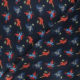 Tissu coton Camelot Fabrics Justice League Boy heroes - bleu nuit x 10cm