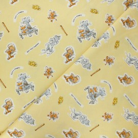 Cotton Camelot fabrics - yellow Tom and Jerry Foes forever x 10cm