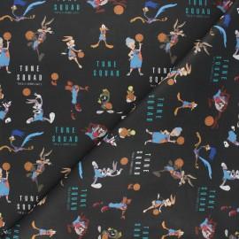 Tissu coton cretonne Tune team - noir x 10cm