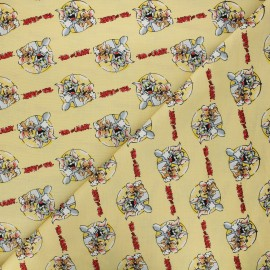 Cotton Camelot fabrics - yellow Tom and Jerry together x 10cm